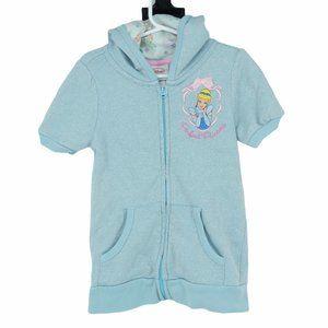 💜5/$25 Cinderella blue zip up short sleeve hoodie